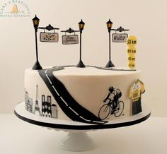 Got a last minute request from a client who wanted a special cake for her hubby, Walter who turned He will be going to Paris to participate in the Le Tour De France as his celebration. Vanilla Bean cake with Banana glaze and buttercream. Paris Birthday Cakes, Boys 1st Birthday Cake, Unique Birthday Cakes, Unique Wedding Cakes, Bicycle Party, Bicycle Cake, Bike Cakes, Beautiful Cake Designs, Beautiful Cakes