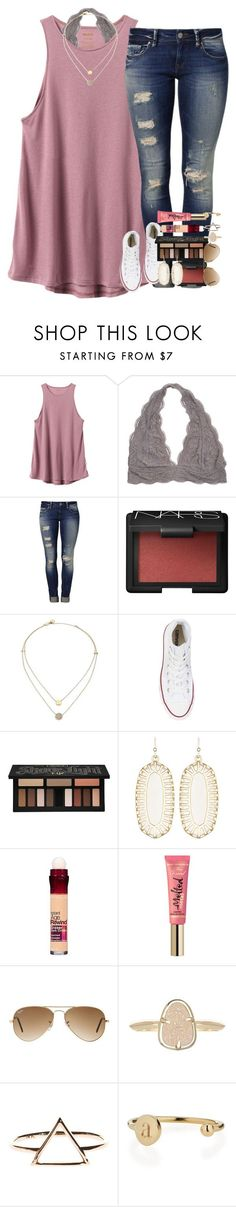 """it was her chaos that made her beautiful."" by ellaswiftie13 on Polyvore featuring RVCA, Mavi, NARS Cosmetics, Michael Kors, Converse, Kat Von D, Kendra Scott, Maybelline, Ray-Ban and Sarah Chloe"