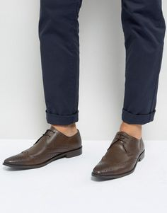 Frank Wright Wing Tip Brogue Shoes In Brown Leather - Brown