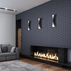 This sleek and contemporary fireplace is perfectly complemented next to a luxe geometric wallpaper and chic silver wall hangings - 2603-20926 Charcoal Rectangular Geo - Harrison - Prism Wallpaper by Decorline