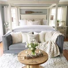Likes, 51 Comments - Shannon Fox Dream Bedroom, Home Bedroom, Bedroom Decor, Small Bedroom Couch, Cozy Master Bedroom Ideas, Coziest Bedroom, Bedroom Furniture, Coastal Master Bedroom, Bedroom Setup