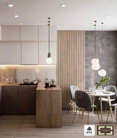 Kitchen Room Design, Home Room Design, Modern Kitchen Design, Home Decor Kitchen, Interior Design Kitchen, Modern Interior, Small Apartment Interior Design, Modern Decor, Kitchen Ideas