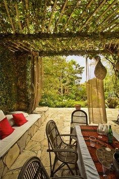 Patio, Covered, Cozy, Mediterranean Pergola and Patio Cover Landscaping Network Calimesa, CA Outdoor Living Areas, Outdoor Rooms, Outdoor Gardens, Outdoor Decor, Living Spaces, Pergola Shade, Diy Pergola, Pergola Ideas, Patio Ideas