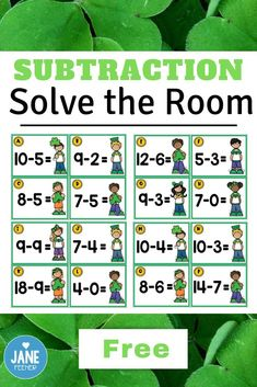 Are you looking for an engaging activity for subtraction? This St. Patrick's Day themed Solve the Ro Subtraction Kindergarten, Subtraction Activities, Fun Classroom Activities, Kindergarten Teachers, Math Classroom, Fun Math, Teaching Math, Numeracy, Classroom Organization