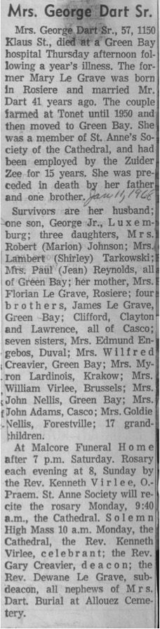 Have You Seen My Roots?: Sunday's Obituary - Mary Dart nee LeGrave #genealogy