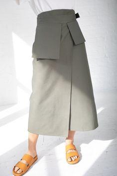 Studio Nicholson Rudd Utility Wrap Skirt - Olive on - Look Fashion, Skirt Fashion, Hijab Fashion, Fashion Outfits, Steampunk Fashion, Gothic Fashion, Business Professional Attire, Business Attire, Long Skirt Outfits For Summer
