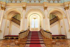 Grand staircase at a palace.