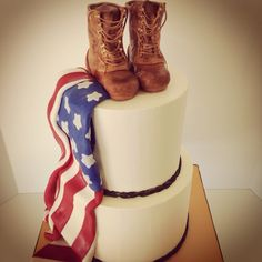 Delicious buttercream cake with fondant flag & sugar boots for army retirement party. Retirement Cakes, Retirement Ideas, Retirement Parties, Birthday Parties, Buttercream Cake, Fondant Cakes, Cupcake Cakes, Cupcakes, Army Wedding