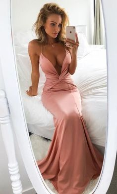 Mermaid Deep V-Neck Sweep Train Blush Prom Dress with Ruched G407