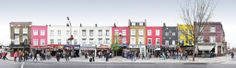 A street panorama from the world famous market area. Lots of peolpe and colourfull buildings in the shot. London Camden Market, Camden Town, Bishop Arts, London United Kingdom, Urban City, Built Environment, Great Places, Cool Pictures, United Kingdom