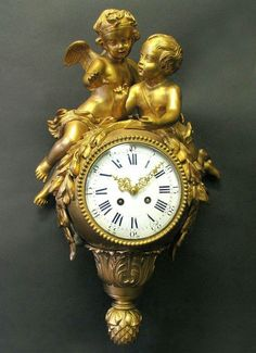"Large and Very Fine French 19th C. Gilt Bronze Figural Cartel Clock - H: 21"" x W: 13"" x D: 8 1/2."""