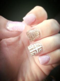 Pastel pink and gold glitter acrylic with white painted design, still one of my favorite sets!