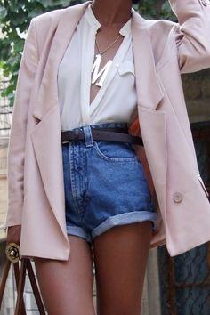 High waist denim shorts and pastel blazer.