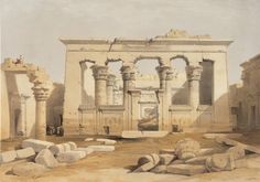 David Roberts RA (1796-1864) and Louis Haghe. Portico of the Temple at Kalabashi. #egypt