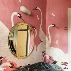 Heron Gucci Wallpaper 2019 Design Trend incredible wallpaper in a tiny bathroom The post Heron Gucci Wallpaper 2019 Design Trend appeared first on Dome Decoration. Home Interior, Bathroom Interior, Interior And Exterior, Interior Decorating, Bathroom Ideas, Decorating Tips, Bathroom Grey, Bathroom Remodeling, Eclectic Bathroom