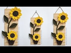Wall Hanging Crafts, Diy Wall Decor, Diy Crafts For Home Decor, Arts And Crafts, Felt Crafts, Paper Crafts, Diy Popsicle Stick Crafts, Sunflower Wall Decor, Flower Ball