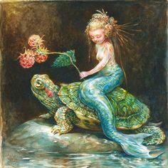 Omar Rayyan (American-Jordanian, b. Jordan, based West Tisbury, MA, USA) - Red Slider With Raspberries Real Mermaids, Fantasy Mermaids, Mermaids And Mermen, Mermaid Fairy, Mermaid Tale, Shark Mermaid, Mythical Creatures, Sea Creatures, Omar Rayyan