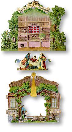 Miniature Christmas, Christmas Nativity, Christmas Paper, Christmas Projects, Vintage Christmas, Xmas, Pop Up Karten, Ornaments Design, Cardboard Crafts