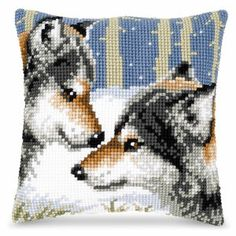 Wolf Pair Pillow Top Needlepoint Kit
