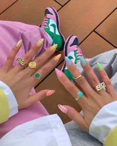 The Anti-Minimal Nail Designs Fashion Girls Are Obsessed With Right Now Funky Nails, Dope Nails, Funky Nail Art, Colorful Nail Designs, Acrylic Nail Designs, Colorful Nails, Cute Nail Designs, Girls Nails, Minimalist Nails