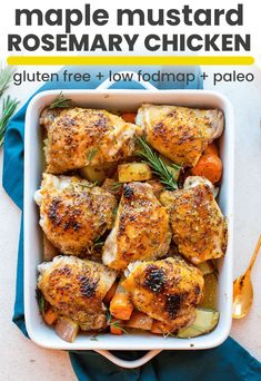 Low FODMAP Maple Mustard Chicken with Rosemary Low FODMAP Maple Mustard Chicken with earthy rosemary, potatoes, carrots and crispy chicken skin – a full dinner with only 10 ingredients made in under an hour! Fodmap Recipes, Diet Recipes, Healthy Recipes, Ibs Recipes Dinner, Vegetarian Recipes, Fodmap Foods, Lunch Snacks, Chicken Skin, Crispy Chicken