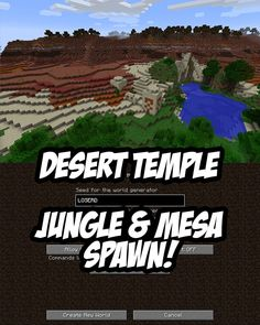 In this Minecraft PC/Mac Seed you spawn in a jungle biome that is beside a desert temple and a mesa biome. Minecraft Portal, Cool Minecraft Seeds, Minecraft Cheats, Minecraft Mansion, Minecraft Plans, Amazing Minecraft, Minecraft Tutorial, Minecraft Creations, Minecraft Memes
