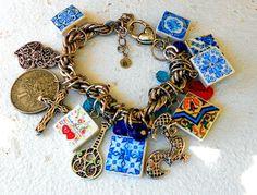 Portugal Antique Azulejo Tile Charm Bracelet Fado Guitar by Atrio,