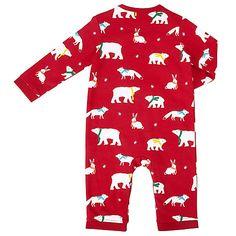 057cbc39b Buy John Lewis Baby Polar Bear Print Romper, Red Online at johnlewis.com  Cosy