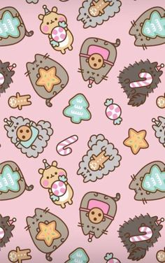 pusheen the cat christmas holiday wallpaper iphone background unicorn snow cookies