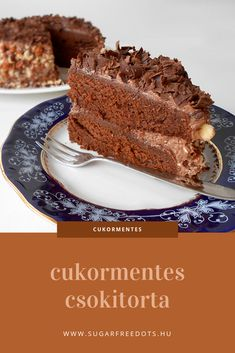 cukormentes, teljes kiőrlésű lisztből készült csokoládétorta, nagyon csokis és nagyon finom Diabetic Recipes, Low Carb Recipes, Diet Recipes, Dessert Recipes, Healthy Recipes, Desserts, Crossfit Diet, Protein Cake, Healthy Food Options