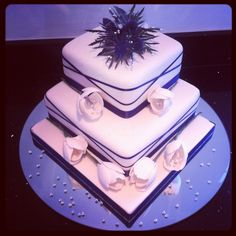 Thistle and tulip wedding cake. Grandma Birthday Cakes, Tulip Wedding, Butter Dish, Wedding Cakes, Dishes, Desserts, Food, Wedding Gown Cakes, Tailgate Desserts