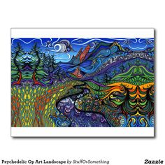 Psychedelic Op Art Landscape Postcard (there is a full-bleed version available...)