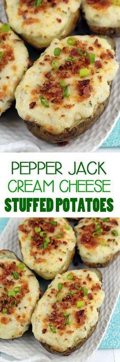 Pepper Jack and Cream Cheese Stuffed Potatoes #stuffedpotatoes