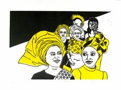 South London Street, african, women, Ethnic, Head Wraps, Headwrap, South london, linocut, print, hand-pulled, black & white, yellow, Ellen Von Wiegand