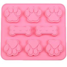 JLHua 2 Pack Food Grade Large Mats Trays Puppy Pets Dog Paws  Bones Silicone Baking Molds Bake Dog Treats For Pets Kids Doglovers Kitchen Tips ** Check out this great product.