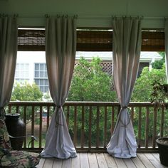 Use inexpensive drop cloth to add style to your porch! For the front porch or adapt 4 my patio> Porch Curtains, Outdoor Curtains, Outdoor Rooms, Outdoor Living, Shower Curtains, Curtains 2018, Outdoor Fabric, Patio Interior, Back Patio
