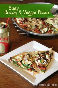 Easy Bacon Veggie Pizza Recipe remodelaholic.com #recipe #pizza #bacon