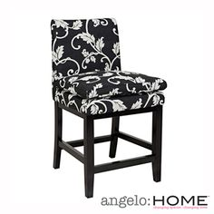 @Overstock - angelo:HOME Marnie Black/ White Vine Upholstered 24-inch Bar Stool  - The angelo:HOME Marnie 24-inch barstool was designed by Angelo Surmelis. The Marnie barstool features a foot rest and pillow top seat for superior comfort.    http://www.overstock.com/Home-Garden/angelo-HOME-Marnie-Black-White-Vine-Upholstered-24-inch-Bar-Stool/8019938/product.html?CID=214117  $179.99