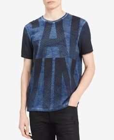 539fac00bf Calvin Klein Jeans Men s Black   Blue Stripe Logo-Print T-Shirt - Blue
