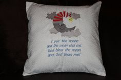 I See the Moon God Bless Me Embroidered Pillow 14 by SeamsDivine, $39.00