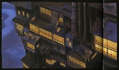 Background concept of windows at the side of the bathhouse. Production art from Spirited Away (2001) http://livlily.blogspot.com/2012/04/spirited-away-2001-production-art.html