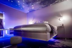 A Floating Bed at One by the Five in Paris   http://www.trendy-hotels.nl/Parijs/Hotels/One-By-The-Five-Parijs=Pinterest