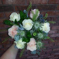 eucalyptus thistle rose loose bouquet - Google Search