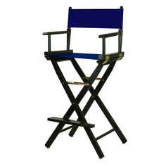 Casual Home 30'' Black Finish Director's Chair Bar Stool, Blue