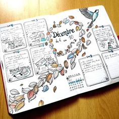 Bullet journal weekly layout, bird drawings, feather drawings. @metro_boulot_bujo