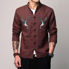 690ee921d6 Linen Cotton Men Jackets Animal Embroidery Chinese Style Traditional Tang  Single Breasted Slim Fit Casual Brand