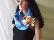 Felted snood scarf-Felted double loop-Blue