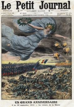 WW I, Sept 1915, First anniversary of the Battle of the Marne (5-12 September 1914), tribute and remembrance. Frontpage of French newspaper Le Petit Journal.  Private Collection. © Getty