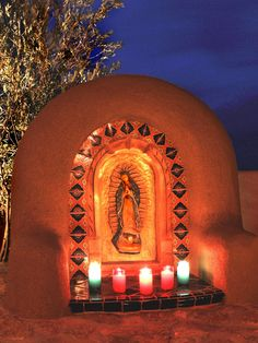 Our Lady of Guadalupe Shrine - 10 Spanish-Inspired Outdoor Spaces on HGTV Mexican Patio, Mexican Garden, Mexican Hacienda, Mexican Home Decor, New Mexican, Hacienda Style Homes, Spanish Style Homes, Mexican Style Homes, Hacienda Kitchen