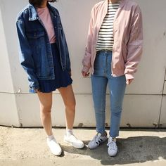 GET THEIR OUTFITS HERE: pink round neck casual t-shirt + waist pleated black skirt + denim coat with pockets + white round toe shoes + stripe t-shirt + pink loose jacket + light blue skinny. Fashion Kids, 80s Fashion, Denim Fashion, Asian Fashion, Look Fashion, Fashion Models, Fashion Outfits, Art Hoe Fashion, Fashion Black